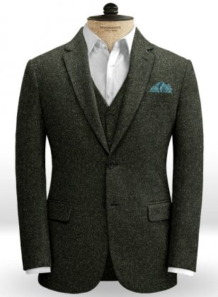 Dark Olive Flecks Donegal Tweed Jacket