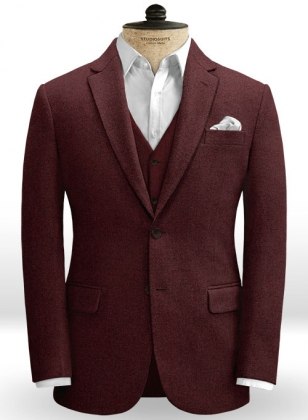 Wine Heavy Tweed Jacket
