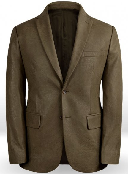 Classic Dark Olive Stretch Pleather Blazer