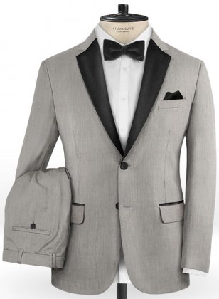 Worsted Light Gray Wool Tuxedo Suit