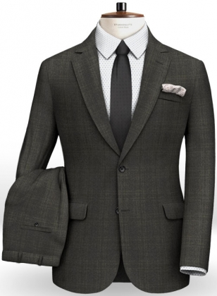 Italian Self Checks Angora Wool Suit