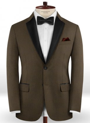 Worsted Dark Brown Wool Tuxedo Jacket