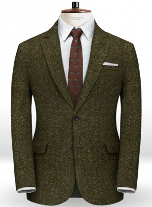 Harris Tweed Melange Green Herringbone Jacket