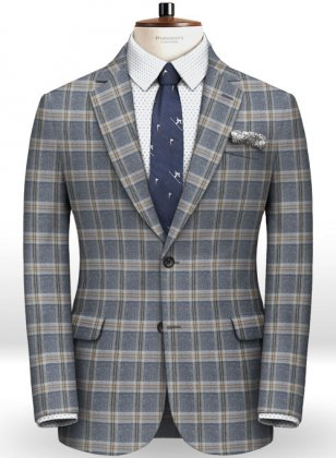 Parma Blue Feather Tweed Jacket
