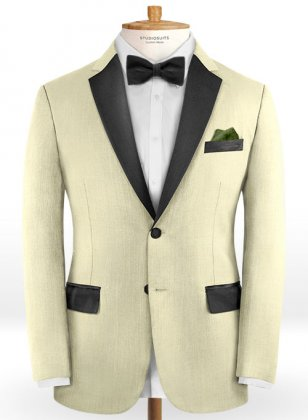 Worsted Light Khaki Wool Tuxedo Jacket