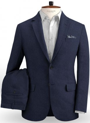 Dark Blue Pure Linen Suit