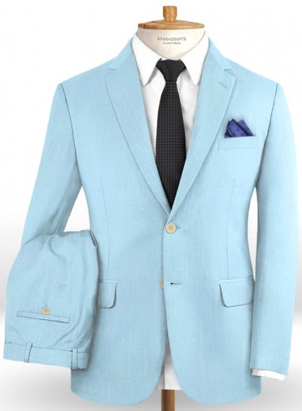 Scabal Sky Blue Wool Suit