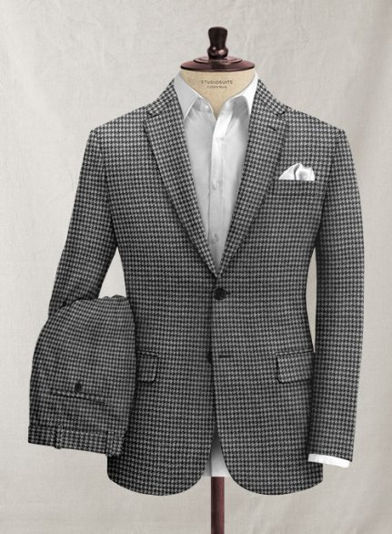 Italian Black & White Houndstooth Tweed Suit