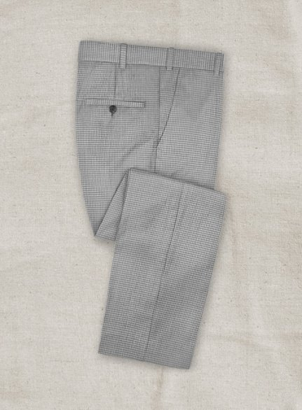 Stretch Checkers Light Gray Wool Pants