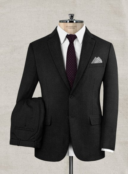 Italian Wool Cashmere Black Suit