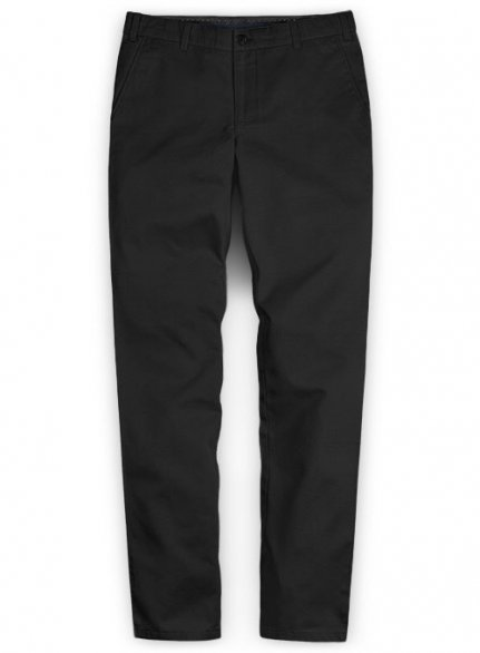 Washed Black Feather Cotton Canvas Stretch Chino Pants
