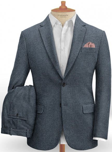 Light Weight Bond Blue Tweed Suit - Ready Size