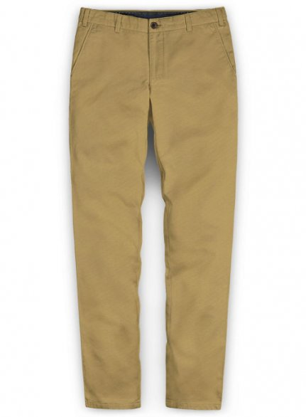 Washed Khaki Feather Cotton Canvas Stretch Chino Pants