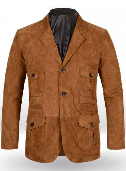 Soft Caramel Brown Suede Leather Blazer - #712