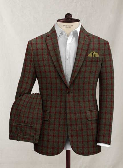 Italian Jacopi Melange Green Tweed Suit