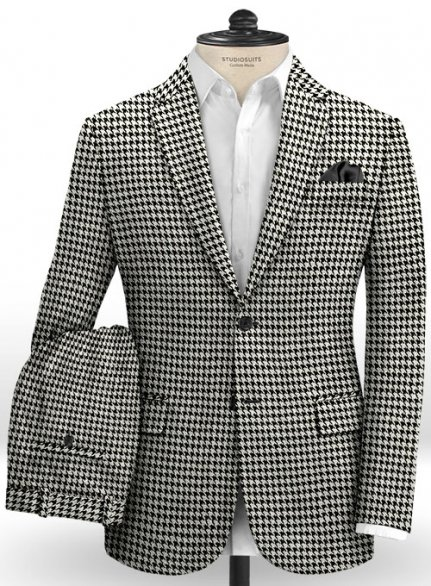 Big Houndstooth BW Tweed Suit- Ready Size