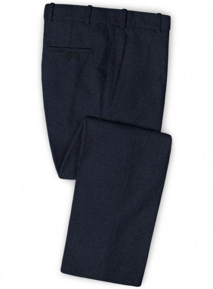 Blue Heavy Tweed Pants