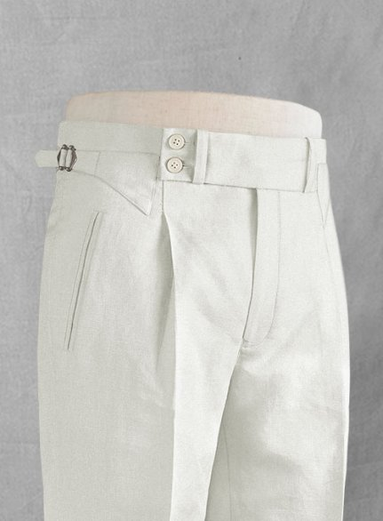Safari Ivory Cotton Linen Heritage Trousers
