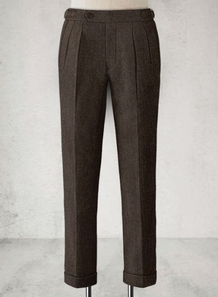 Light Weight Dark Brown Highland Tweed Trousers