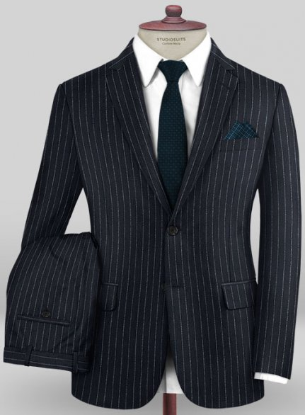 Caccioppoli Wool Navy Blue Carone Suit