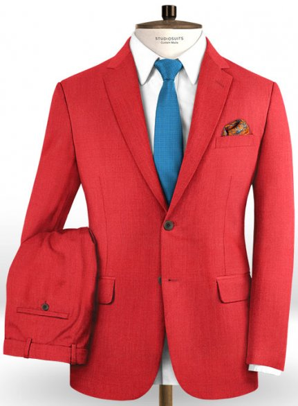 Scabal Scarlet Red Wool Suit