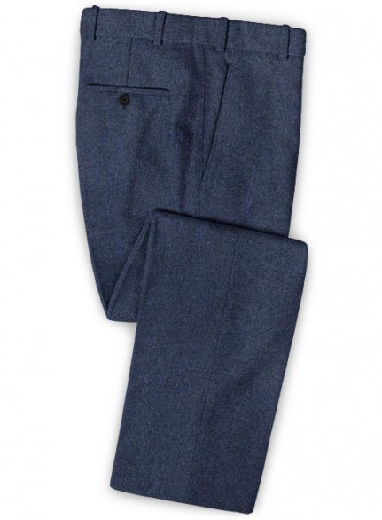 Royal Blue Denim Tweed Pants