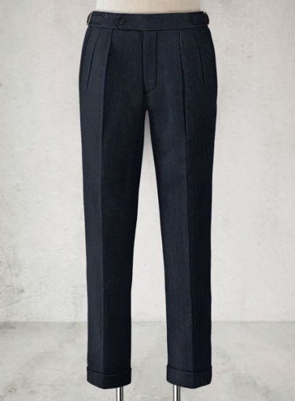 Light Weight Melange Dark Blue Highland Tweed Trousers