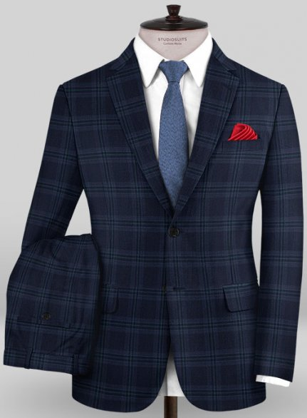 Scabal Mosaic Semira Blue Wool Suit