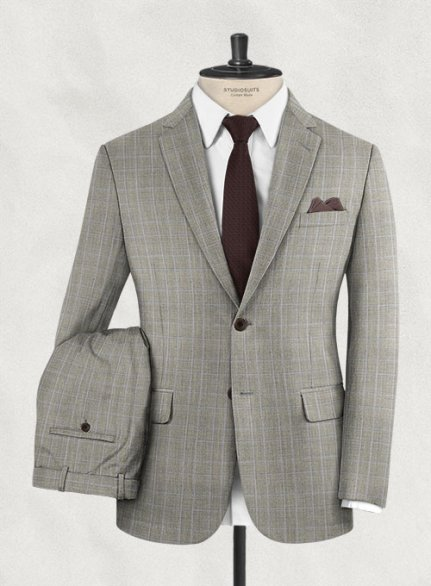 Scabal Cilva Brown Glen Wool Suit