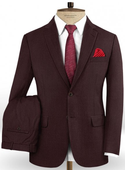 Scabal Dark Wine Wool Suit