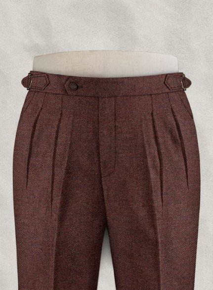 Royal Wine Herringbone Highland Tweed Trousers