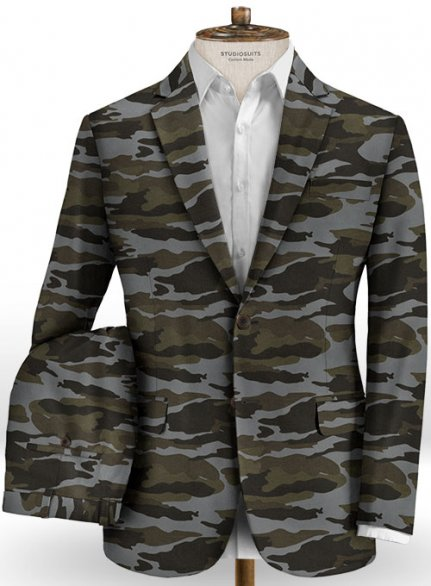 Gray Stretch Camo Suit