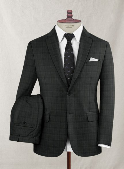 Zegna Mero Dark Gray Checks Wool Suit