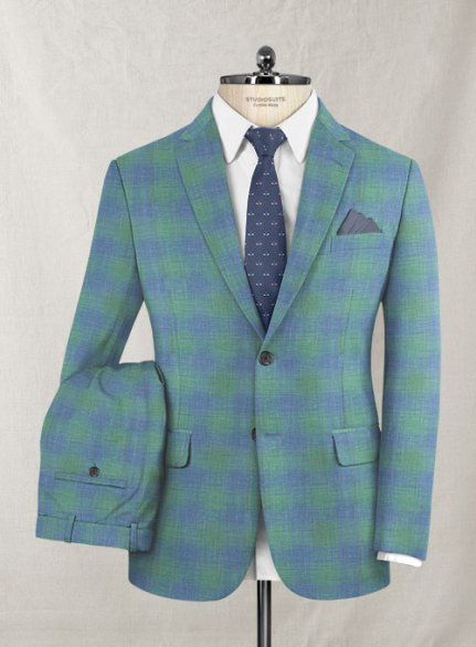 Italian Murano Blue Green Checks Wool Suit