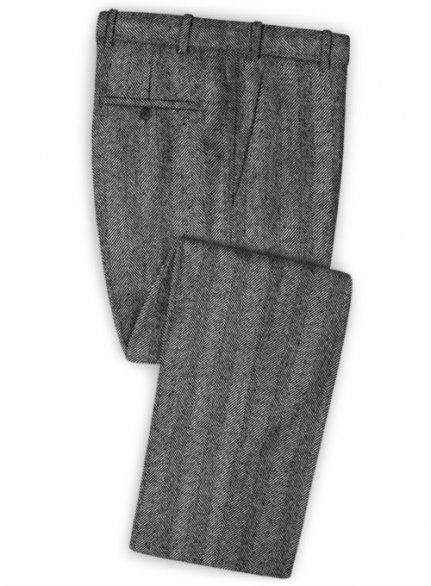 Italian Wide Herringbone Charcoal Tweed Pants