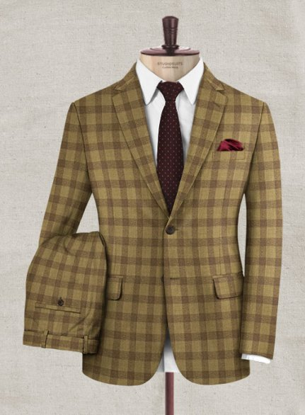 Italian Wool Cashmere Tarzzo Khaki Checks Suit