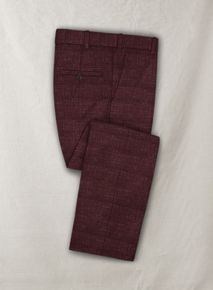 Italian Murano Achale Red Wool Pants