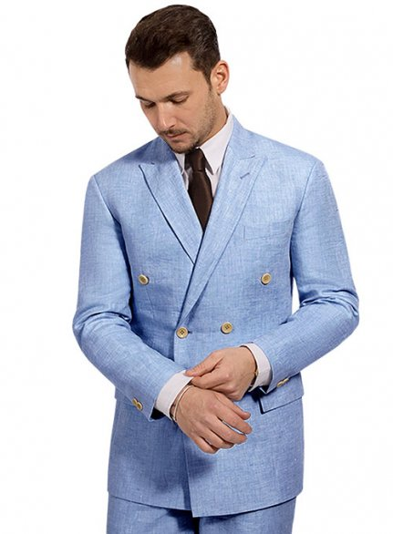 Italian Nile Blue Linen Suit- Ready Size