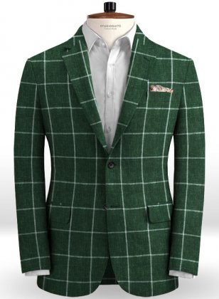 Solbiati Green Windowpane Linen Jacket