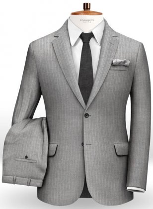 Chalkstripe Wool Light Gray Suit