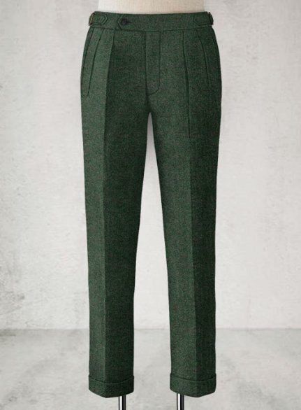 Bottle Green Herringbone Highland Tweed Trousers