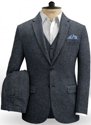 Houndstooth Blue Tweed Suit