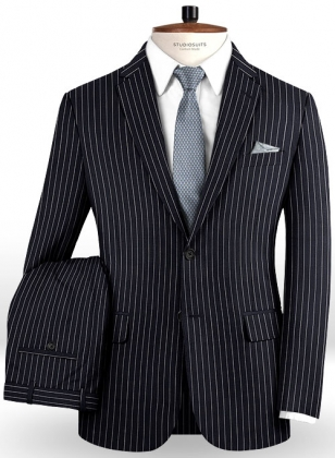 Napolean Dark Blue Stripe Wool Suit