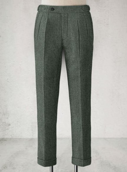 Rope Weave Green Highland Tweed Trousers