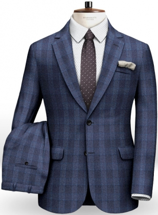 Blue Mont Checks Flannel Wool Suit