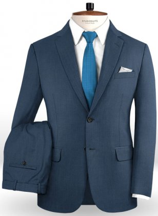 Napolean Flat Blue Wool Suit