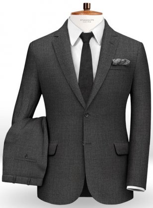 Dogtooth Wool Charcoal Suit