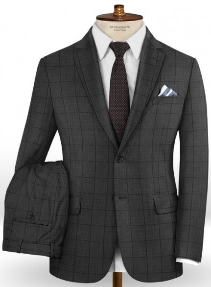 Napolean Fissa Charcoal Wool Suit