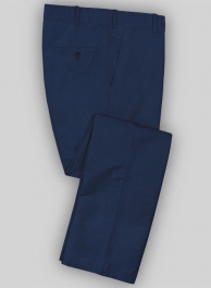 Washed Royal Blue Safari Cotton Linen Pants