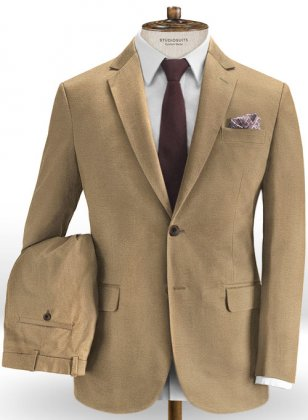 Stretch Summer Weight Dark Khaki Chino Suit